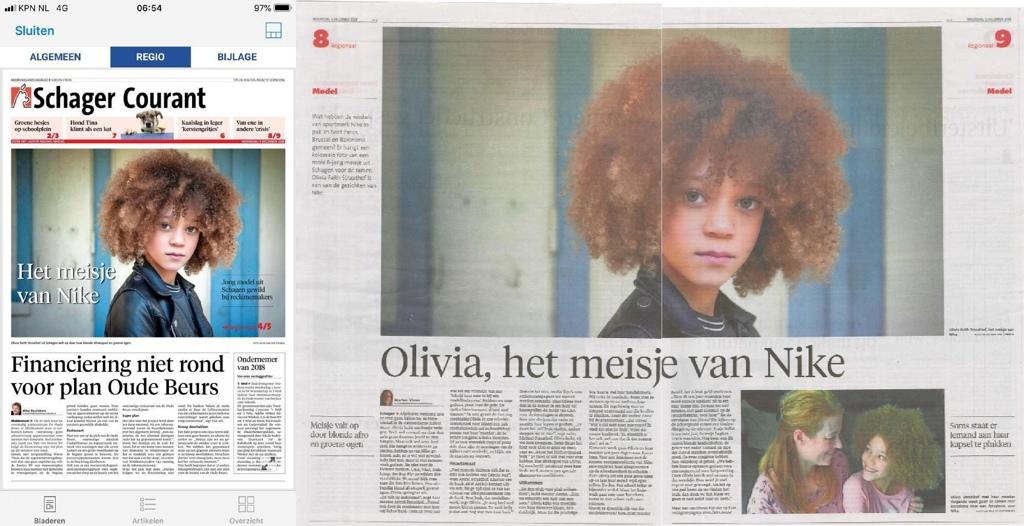 krant Hilde van der sterren portretten nike Olivia model