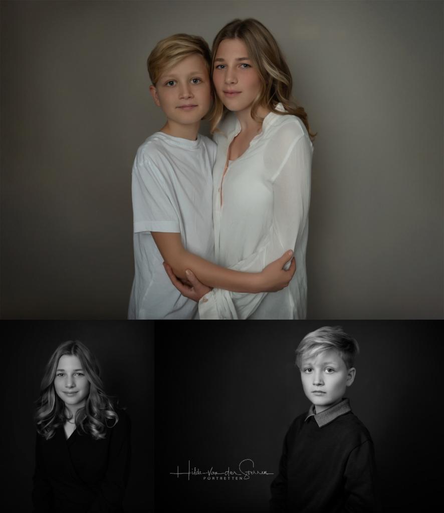 broer en zus kerstfoto 2018 Hilde van der sterren portretten zwart wit